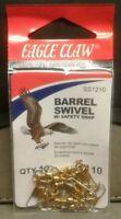 EAGLE CLAW BARREL SWIVEL W/ SAFETY SNAP SZ 10 QTY 12, FREE & PROMPT SHIPPING