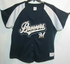 Milwaukee Brewers Genuine Merchandise Women's Button Front Jersey Leather Letter