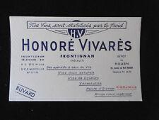 """Ancien Buvard publicitaire """"Honoré Vivarès, Frontignan"""" Vin Hérault Old blotter"""