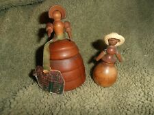 2 wooden doll primitive with peg doll arms bonnet cornwall's perfume tag and sm
