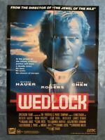 WEDLOCK Australian CBS-Fox VHS VIDEO POSTER Rutger Hauer sci-fi movie 1-sheet