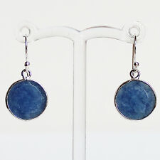 925 Sterling Silver Semi-Precious Natural Stone Blue Sapphire Drop Earrings
