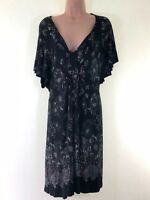 YOURS black floral paisley print jersey dress PLUS SIZE 26 - 28 euro 54 - 56