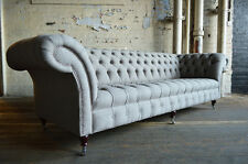 MODERN HANDMADE 4 SEATER LIGHT GREY WOOL CHESTERFIELD SOFA COUCH CHAIR