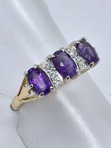 18ct Yellow And White Gold Amethyst And Diamond Ring
