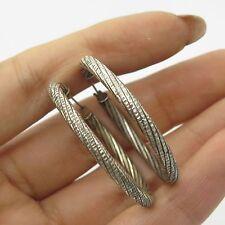 Fas 925 Sterling Silver Large Twisted Hoop Earrings