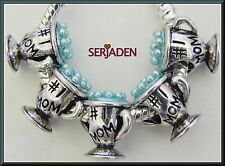 5 Mom Trophy Charm with # 1 Mom & Blue Top fits European Style Jewelry R188