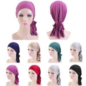 Muslim Women Turban Hat Hijab Stretch Cotton Bandana Head Scarf Wrap Chemo Cap