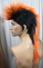 Quality MOHAWK Wig ..Unisex .. Black tipped in ORANGE *