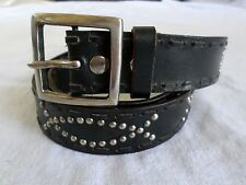 ROCK STAR black leather lacing tooled silver studs Garrison jeans belt 36 38