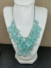 """Blue Ice Opalite Lucite Faceted Teardrop Cluster Bib Necklace 18"""""""