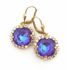 "CATHERINE POPESCO Ultra Purple w 17 Stone Border Swarovski Gold Earrings 1 1/4"""