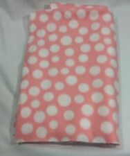 Pink White Polka Dot Fleece Fabric Remnant