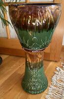 "McCoy Pottery Jardiniere Green & Brown Drip Glaze Moon Sun Planter Pot 22.5"""