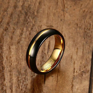 6mm Men Black Tungsten Steel Domed Middle Gold Plated Groove Women Wedding Ring