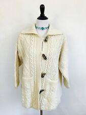 Carraig Donn Irish Wool Cardigan Sweater Horn Buttons Made in Ireland Aran Large