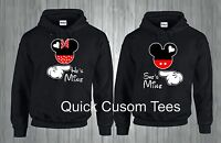 HE'S MINE AND SHE'S MINE HOODIES MICKEY AND MINNIE MATCHING CUTE LOVE COUPLES