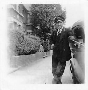 LONDON ELECTRICITY BOARD - MAN IN UNIFORM BY OLD MOTOR CAR  VINTAGE PHOTOGRAPH