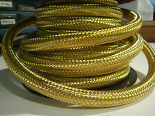 "5/16"" BRASS BRAIDED FUEL HOSE BY FOOT Gas oil tank line chopper bobber harley"