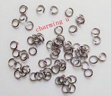 100 pz anellini in acciaio inox colore argento scuro 6x1mm