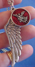 ARCHANGEL St MICHAEL RED ENAMEL Saint Medal NECKLACE PROTECT Pendant Angel Wing