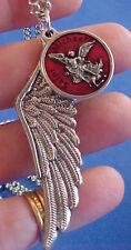 ARCHANGEL St MICHAEL RED ENAMEL Saint Medal NECKLACE PROTECT Pendant Angel Wing