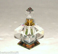 NEW FANCY MULTI COLOR SQUARE CRYSTAL PRISM+GOLD PERFUME BOTTLE & STOPPER+ BOX