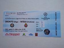 Rare Ticket SKONTO RIGA - WISLA KRAKOW 2011/12 Champions League Latvia Poland