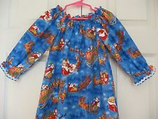 Girls Peasant Dress - Christmas Holiday Dress - Santa's Sleigh Reindeer - 5 to 6