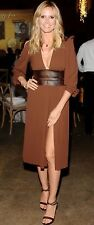 Michael Kors Runway Brown Chiffon & Leather Party Cocktail Dress SZ 8 $2,595 NEW
