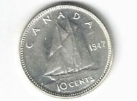 CANADA 1947 TEN CENTS DIME KING GEORGE VI .800 SILVER COIN CANADIAN
