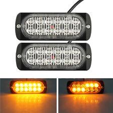 4x 12LED Amber Car Emergency Flashing Light vehicle Strobe Flash Warning 12/24V