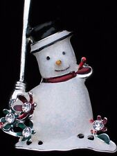 NIB MONET SILVER BROOM FLOWER FROSTY SNOWMAN SNOWLADY PIN BROOCH JEWELRY 2.50""