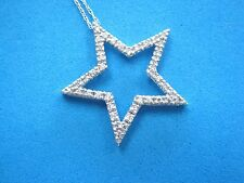 "$750 Star Pendant 10K White Gold Round Diamond 18.5''  Chain Necklace for ""STAR"""