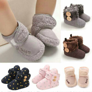 Newborn Snow Booties Warm Crib Pram Shoes 0-18M Fur Lined Boots Baby Girl Winter