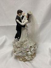Vintage WEDDING CAKE TOPPER Pedestal BRIDE & GROOM  50's/60's
