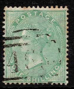 GB VICTORIA 1856 1s Green SURFACE-PRINTED SG72 MISS-PLACED WMK Fine Used RE:X671