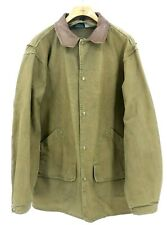 VTG WOOLRICH Jacket Men's Large Brown Canvas Barn Chore Coat Leather Collar