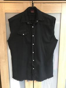 Mens black Sleeveless Shirt punk rock goth metal large XL tank vest Spiral