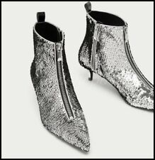 Chic Womens Sequins Pointy Toe Ankle Boots Zipper Low Heel Stilettos Party Shoes