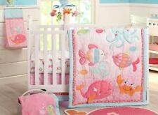 Crib Bedding Set Nursery Baby Girl 4 Pc Nautical Whale Pink Fish Beach Gift NEW
