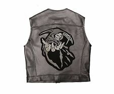"""Grim Reaper Angle of Death Motorcycle Biker Patch Iron-on Large 12.75""""x10"""" Black"""