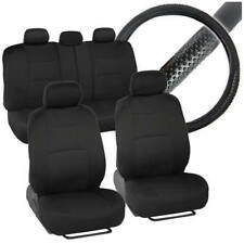 Front & Rear Polyester Car Seat Covers + Sport Grip Steering Wheel Cover 10pc