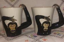 (2) Pier 1 One Figural Funny Chimpanzee Monkey Illustrated Large Coffee Mugs