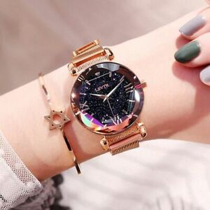 Luxury Women Wristwatch Fashion Magnet Buckle Metal Strap Quartz Gift Star Gold