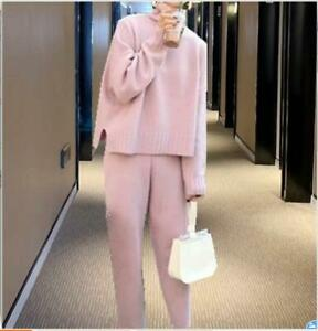 Womens Woolen Knitted Sweater Straight High neck Tops Pants 2Pcs Winter Suits