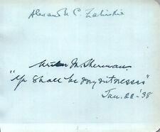 Roman Catholic Bishop Lansing Alexander M. Zaleski + Other Autograph Signed Page