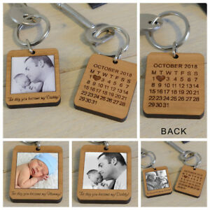 """Personalised Wooden Photo Keyring Dad Wife Anniversary """"The Day You Became My"""""""