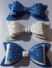 """3 X GIRLS BLUE & SILVER SPARKLY GLITTER 3"""" DOUBLE HAIR BOWS ALLIGATOR CLIP"""