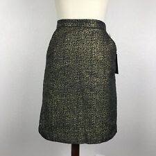 Tucker for Target Metallic Gold Navy Side Pockets Lined Pencil Skirt Sz 3 NWT